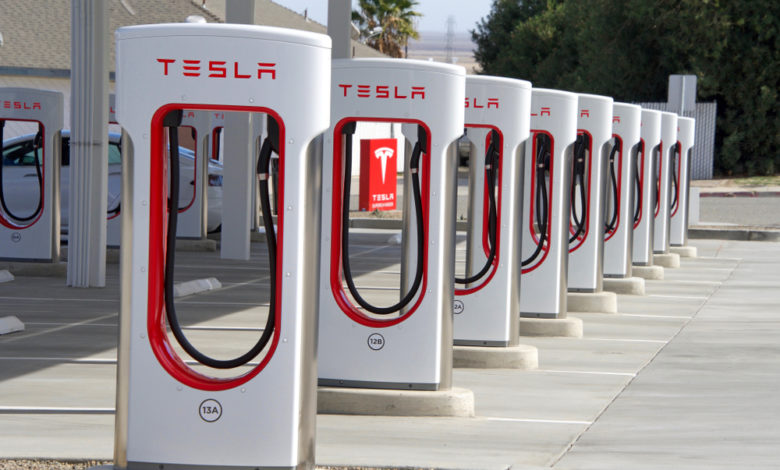 A solar powered Tesla charging station in California