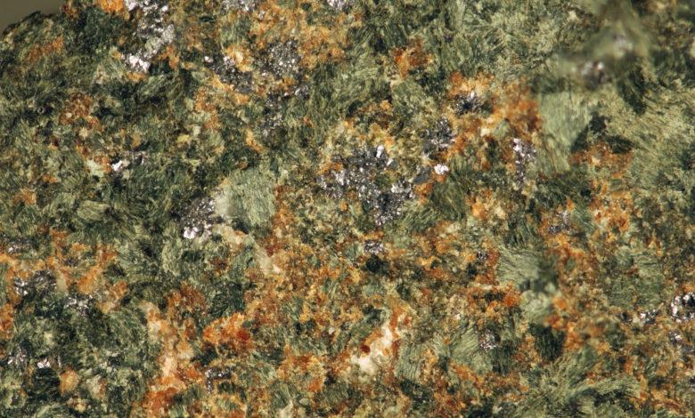 A garnet-pyroxene-molybdenite-scheelite skarn. Scheelite is a primary ore of tungsten.