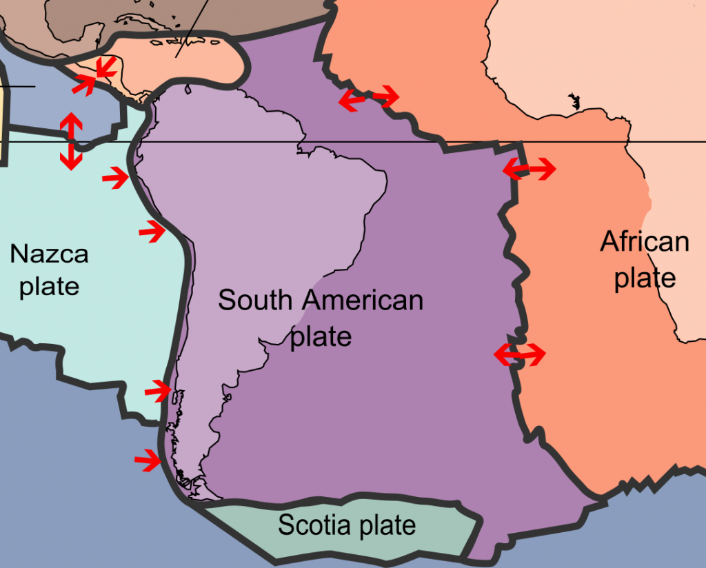 The oceanic Nazca Plate moves under the South American Plate
