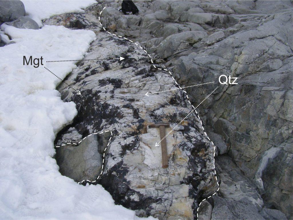 Quartz-magnetite veins