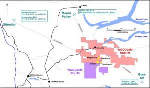 WoodJam Property location: showing surrounding deposits