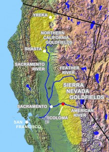 The major gold fields during the California gold rush