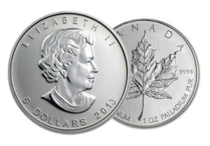 A palladium coin produced by the Royal Canadian Mint. Palladium is an exchange traded metal and these coins are sought after by collectors and speculators.