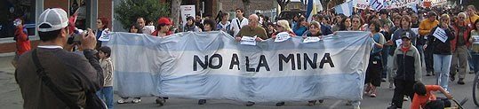 A demonstration against opening a gold mine in Esquel, Chile.