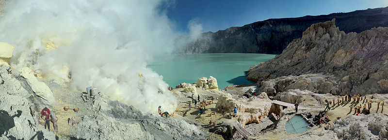 Sulfur mining in Kawah Ijen volcano, Java, Indonesia.