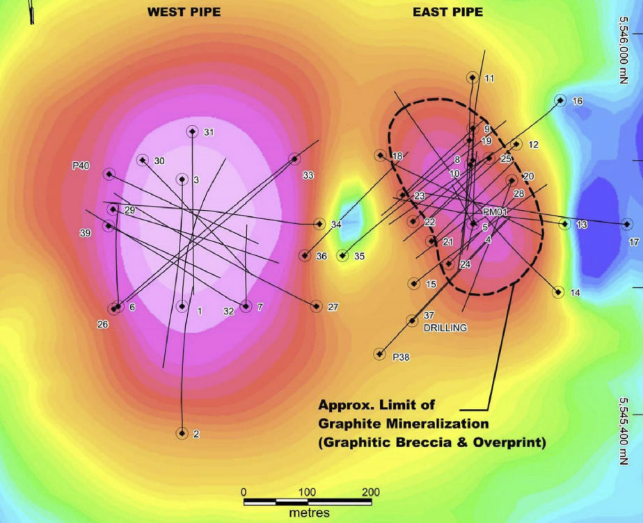 Zenyatta's Albany graphite project showing drill-hole locations and ground geophysics